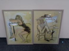 A pair of French prints depicting figures seated at cafe tables.