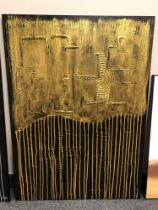 Piero Montanelli : Textured two tone abstract study (gold), oil on canvas, 90 cm by 65 cm,