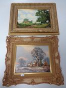 Two Vincent Selby oils on board, Shire horse on a rural lane and a Winter farmstead, in gilt frames.