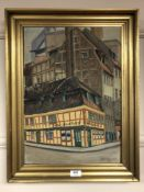 Continental School : Street scene, oil on canvas, signed Wilman, dated 1935, 47 cm x 33 cm, framed.