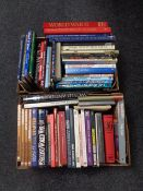Two boxes containing hardback books relating to World War II, Guinness Book of Records, etc.