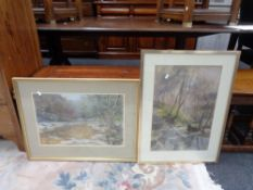 A Walter Holmes pastel drawing, River through a woodland, framed, together with a Joyce Gray pastel,