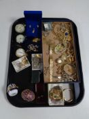 A tray containing a quantity of costume jewellery, chrome and silver plated pocket watches,