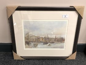 After Tom MacDonald : The Tall Ships, Newcastle, reproduction in colours, signed in pencil,