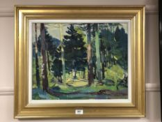 Continental School : Forest scene, oil on canvas, 49 cm x 39 cm, indistinctly signed, framed.