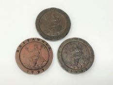Three 1797 tuppence coins (3)