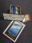 A box containing hardback fishing books together with three framed fishing prints.