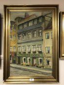 Continental School : Street scene, oil on canvas, signed Wilman, 60 cm x 40 cm, framed.