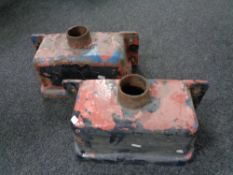 Two cast iron drain hoppers.