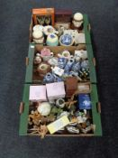 Three boxes containing miscellania to include boxed glassware, kitchen storage jars,