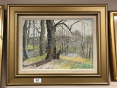 Continental school : Forest scene, oil on canvas, indistinctly signed, 37 cm x 26 cm, framed.