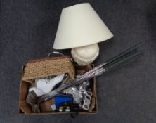 A box containing miscellania, Pro line turntable, bundle of golf clubs,