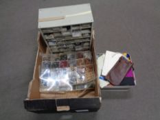 A box containing multi drawer chest containing haberdashery items, buttons, threads etc.
