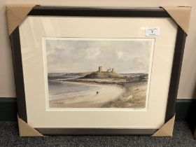 After Tom MacDonald : Dunstanburgh, reproduction in colours, signed in pencil, 21 cm by 30 cm,