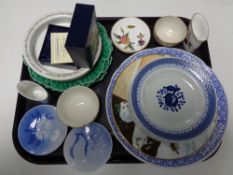 A tray containing assorted china to include Royal Worcester floral patterned sugar bowl,