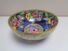 A Maling 'Anemone, Patch Ground' lustre bowl, pattern number 6385.