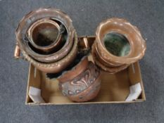 A box containing antique and later copper ware to include samovar (as found), Art Nouveau planters,