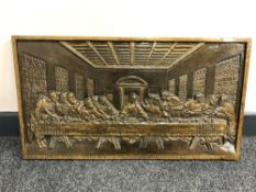 A gilt plaster panel depicting The Last Supper