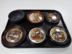 Five antique and later pot lids in frames, Cries of London etc,