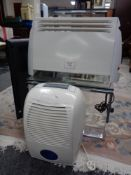 A dehumidifier together with a panel heater.