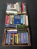 Two boxes containing hardback books to include The Works of Dickens, Eliot and Bronte, dictionaries,