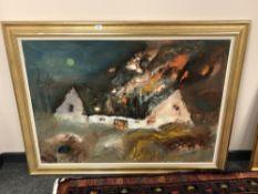 Continental School : Burning farmstead, oil on canvas, 117 cm x 83 cm,