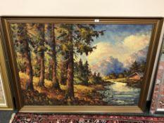 Continental School : Alpine landscape, oil on canvas, 136 cm x 96 cm, indistinctly signed Wallstrom,