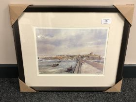 After Tom MacDonald : The Mouth of the Tyne, reproduction in colours, signed in pencil,