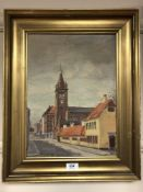 Continental School : Street scene with church, oil on canvas, signed Wilman, dated 1932,
