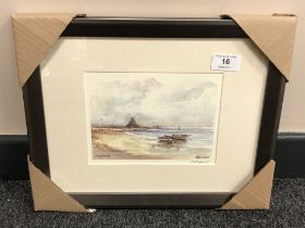 After Tom MacDonald : Lindisfarne, reproduction in colours, signed in pencil, 13 cm by 18 cm,