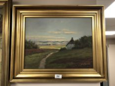 Continental School : Rural homestead with thatched cottage, oil on canvas, signed Jorgen Eising,