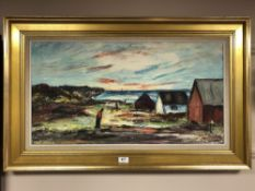 Continental school : Figures on the coast, oil on canvas, 74 cm x 39 cm, monogrammed lower right,