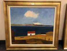 Continental School : Homestead by the sea, oil on canvas, 69 cm x 59 cm, indistinctly signed,