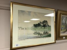 Continental School : View along a river bank, watercolour 43 cm x 32 cm, indistinctly signed,