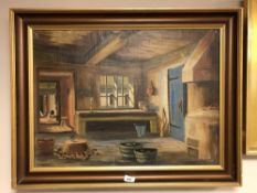 Continental school : Cottage interior, oil on canvas, 66 cm x 48 cm, indistinctly signed, framed.