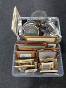 Two boxes containing a quantity of assorted framed pictures and picture frames, kitchenalia,
