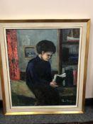 Continental school : portrait of a boy reading, oil on canvas, 59 cm x 69 cm, framed.
