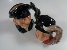 Two Royal Doulton character jugs, Gone Away and Lobster Man.