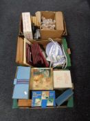 Three boxes containing miscellania to include boxed glassware, framed pictures, steam iron system,