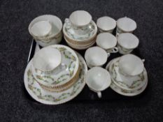 Thirty six pieces of antique Phoenix bone tea china