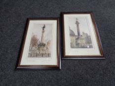 Two framed Jim Doran mixed media pictures, Grey's Monument and the Dirty Angel Newcastle.