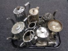 A tray of assorted plated wares,