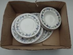 A tray of twenty four pieces of Royal Doulton Burgundy dinner ware