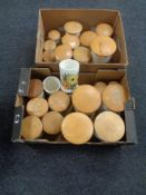 Two boxes of twenty-seven Crown Devon Fieldings lidded storage jars