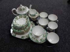 A tray containing 34 pieces of Montrose Gladstone bone china tea china (teapot a/f).