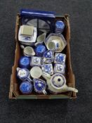A box of Ringtons blue and white china