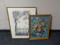 A gilt framed tapestry still life together with a further gilt framed watercolour - Trees with lake