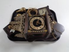 A Continental wall clock with brass pear drop weights together with a Bakelite cased Smith's