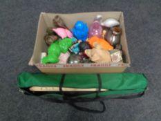 A box containing assorted china, cast iron novelty money box,