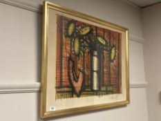 Continental school : A colour print depicting sunflowers in a vase, 74 cm x 54 cm, signed in pencil,